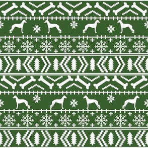 Italian Greyhound fair isle silhouette christmas fabric pattern med green