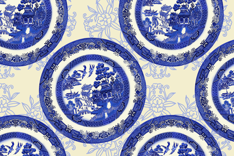 Blue Willow Vintage fabric by honoluludesign on Spoonflower - custom fabric