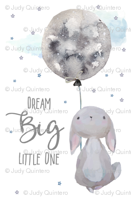 "7"" Dream Big Little One  Bunny with Quote"