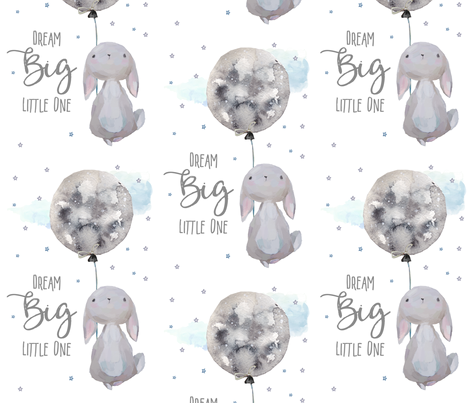 "7"" Dream Big Little One  Bunny with Quote fabric by shopcabin on Spoonflower - custom fabric"
