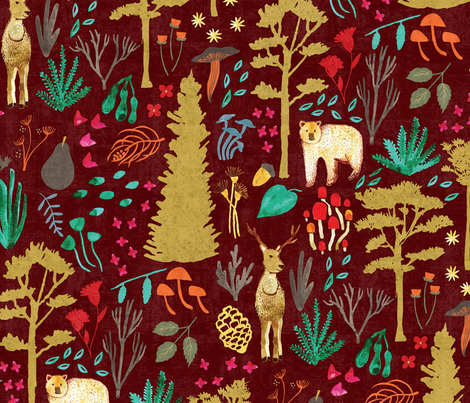 Autumn Woodlands - Deep Red fabric by scarlette_soleil on Spoonflower - custom fabric