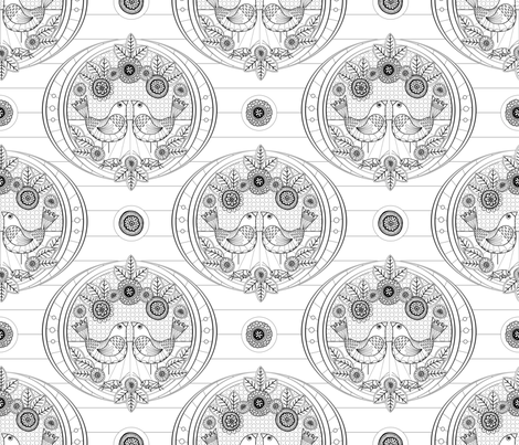 Canaries and Crickets Coloring Page fabric by run_quiltgirl_run on Spoonflower - custom fabric