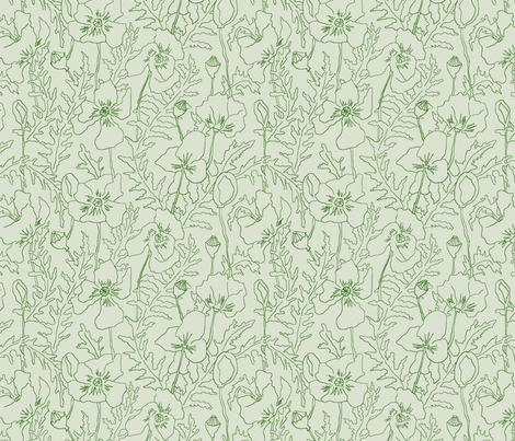 Poppies in Green fabric by threebearsprints on Spoonflower - custom fabric