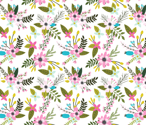 pink maui sprigs and blooms // oversized fabric by ivieclothco on Spoonflower - custom fabric
