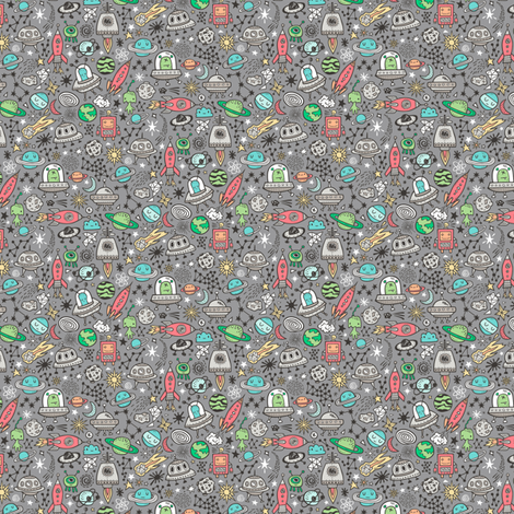 Space Galaxy Universe Doodle with Aliens, Rockets, Planets, Robots & Stars on  Dark Grey Tiny Small fabric by caja_design on Spoonflower - custom fabric