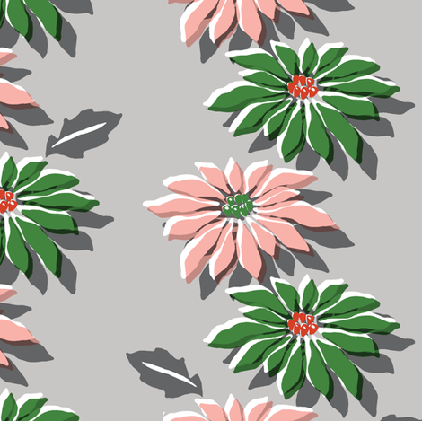 Poinsettias* (Red & Green) || poinsettia flower flowers floral vintage retro stripes Christmas holiday plant nature decor tradition large format scale linens tablecloth kitchen fabric by pennycandy on Spoonflower - custom fabric