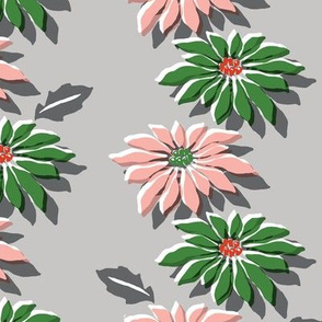 Poinsettias* (Red & Green) || poinsettia flower flowers floral vintage retro stripes Christmas holiday plant nature decor tradition large format scale linens tablecloth kitchen