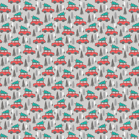 Holiday Christmas Tree Red Car Woodland Fall on Grey Tiny Small fabric by caja_design on Spoonflower - custom fabric