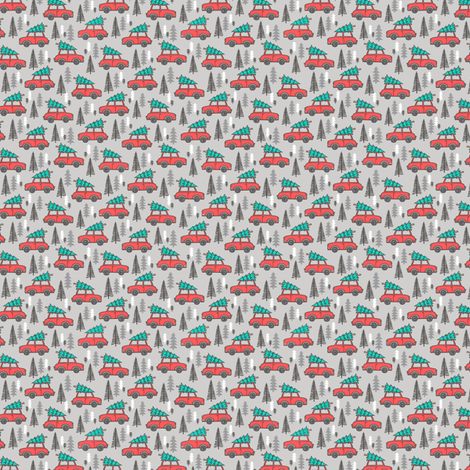 Holiday Christmas Tree Red Car Woodland Fall on Grey Tiny Small 0,5 inch fabric by caja_design on Spoonflower - custom fabric