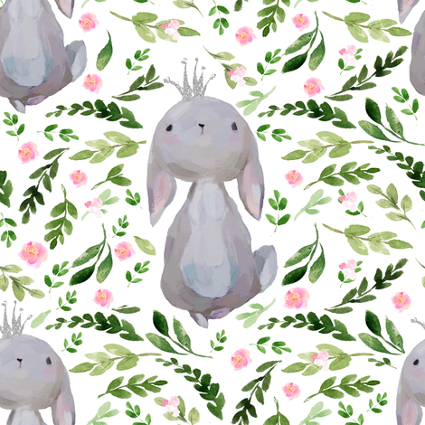 "8"" Floral Princess Bunny  fabric by shopcabin on Spoonflower - custom fabric"