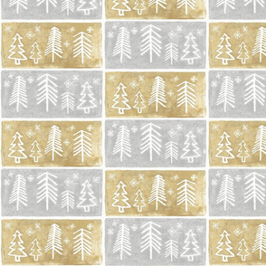 Silver and Gold Block print trees