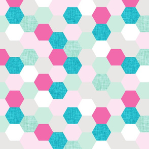 pink maui hexagons // aqua + pink