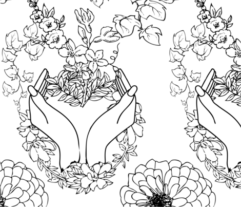 Mother's_Garden_Coloring_Book fabric by maria_makes_flowers on Spoonflower - custom fabric