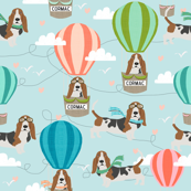 Custom name fabric - hot air balloon basset hound