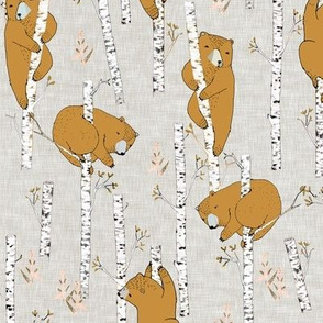 Birch Bears (small) MUSTARD