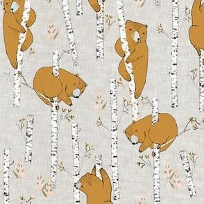 Birch Bears (small) MUSTARD