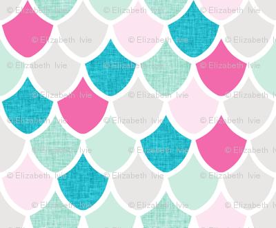 pink maui mermaid scales // pink + aqua // small