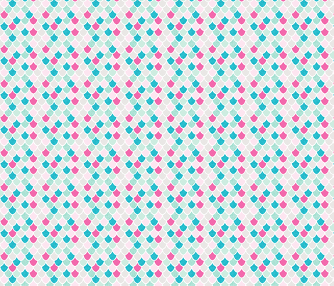 pink maui mermaid scales // pink + aqua // small fabric by ivieclothco on Spoonflower - custom fabric