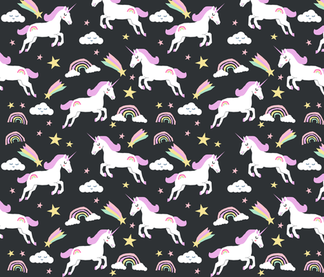 unicorn bright colors fabric rainbow clouds stars cute girls unicorn fabric pastel fabric by charlottewinter on Spoonflower - custom fabric