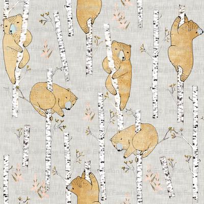 Birch Bears (regular) soft mustard linen