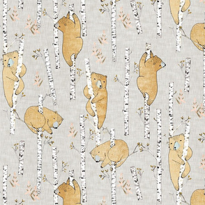 Birch Bears (regular) soft mustard linen