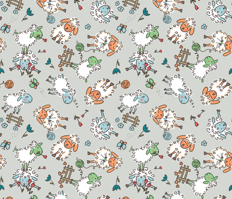 ditsy sheep on gray fabric by designed_by_debby on Spoonflower - custom fabric