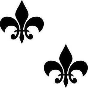 Three Inch Black Fleur-de-lis on White
