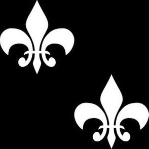 Three Inch White  Fleur-de-lis on Black