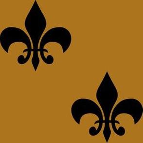 Three Inch Black  Fleur-de-lis on Matte Antique Gold