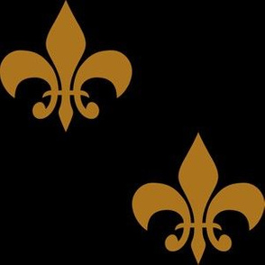 Three Inch Matte Antique Gold Fleur-de-lis on Black
