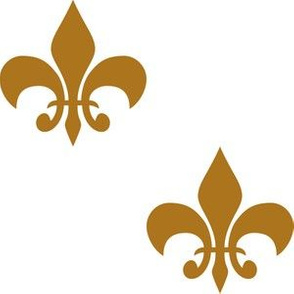 Three Inch Matte Antique Gold Fleur-de-lis on White