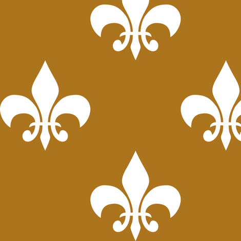 Three Inch White Fleur-de-lis on Matte Antique Gold fabric by mtothefifthpower on Spoonflower - custom fabric