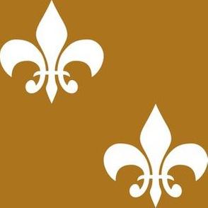 Three Inch White Fleur-de-lis on Matte Antique Gold