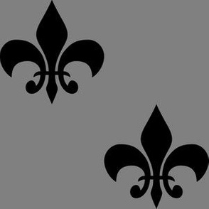Three Inch Black  Fleur-de-lis on Medium Gray
