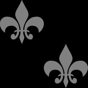 Three Inch Medium Gray Fleur-de-lis on Black