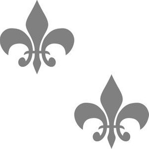 Three Inch Medium Gray Fleur-de-lis on White