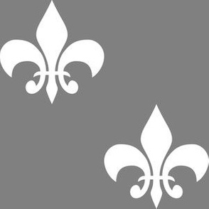 Three Inch White  Fleur-de-lis on Medium Gray