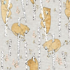 Birch bears (small) soft mustard linen