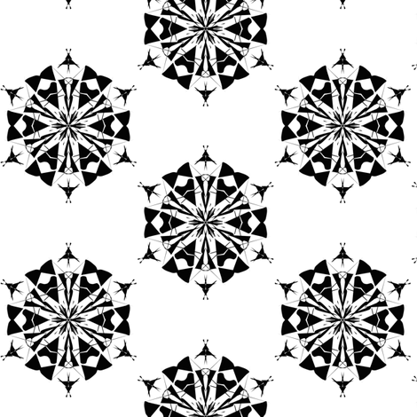 Hexagon Carousel in Black and White fabric by rhondadesigns on Spoonflower - custom fabric