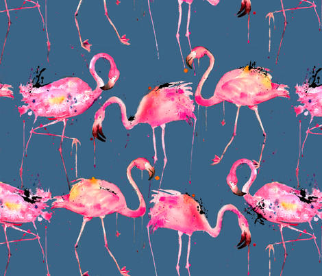 flamingos on steel blue fabric by karismithdesigns on Spoonflower - custom fabric