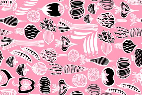 Retro Harvest Tea Towel Pink 3 fabric by kirstenkatz on Spoonflower - custom fabric
