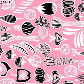 Retro Harvest Tea Towel Pink 3