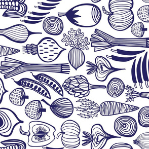 Retro Harvest Tea Towel Blue & White