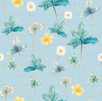 Meadow Pale Yellow on Pastel Blue