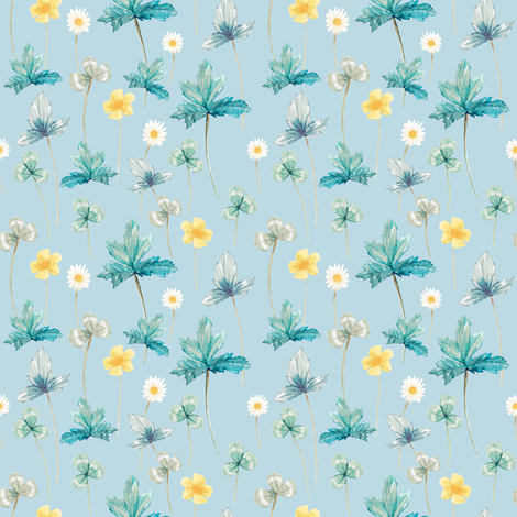 Meadow Pale Yellow on Pastel Blue fabric by thistleandfox on Spoonflower - custom fabric
