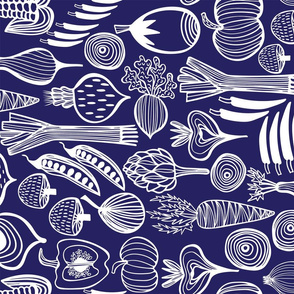 Retro Harvest Tea Towel Navy Blue