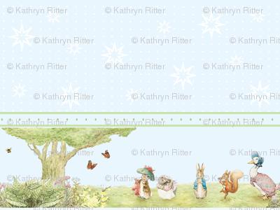 Beatrix Potter Character Border Print - Peter Rabbit, Benjamin Bunny, Mrs. Tiggywinkle, Squirrel Nutkin, Jemima Puddleduck