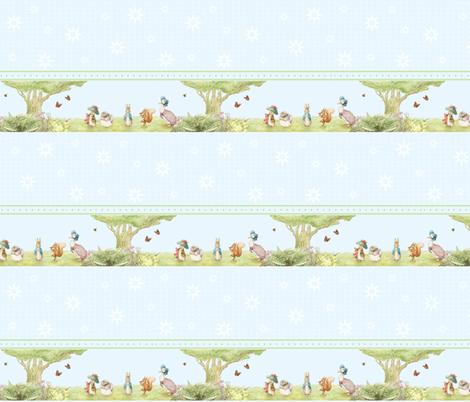 Beatrix Potter Character Border Print - Peter Rabbit, Benjamin Bunny, Mrs. Tiggywinkle, Squirrel Nutkin, Jemima Puddleduck fabric by aspenartsstudio on Spoonflower - custom fabric