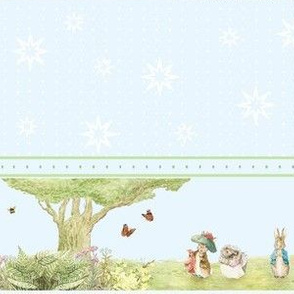 Beatrix Potter Character Border Print - Peter Rabbit, Benjamin Bunny, Mrs. Tiggywinkle, Squirrel Nutkin, Jemima Puddleduck