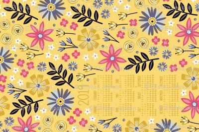 2019 Garden Joy Tea Towel Calendar (Gold)